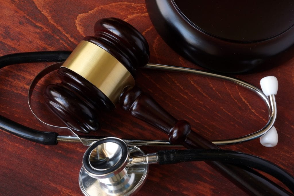 Gavel and stethoscope, representing personal injury law.