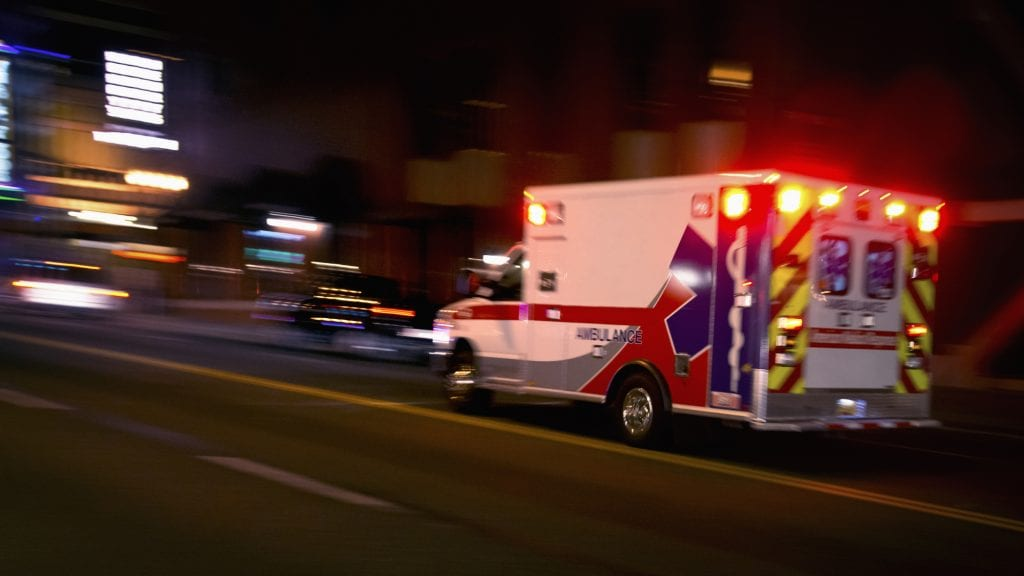 Ambulance with catastrophic injury patient speeding toward a hospital ER.