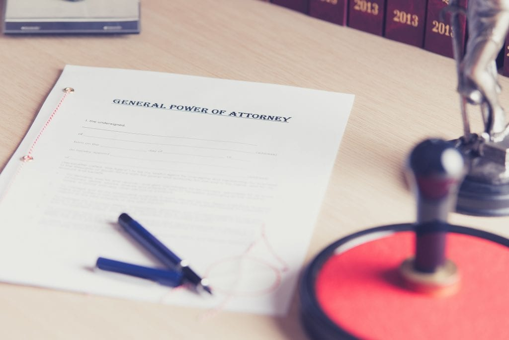 General power of attorney document, awaiting a signature and notarization.