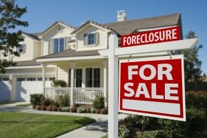 Baltimore home with foreclosure sign